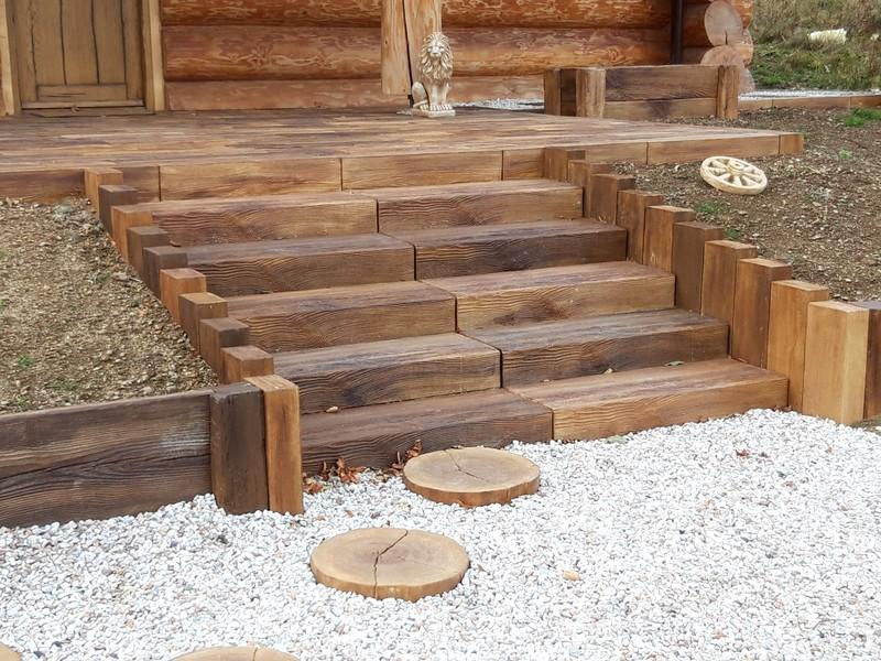 Schody ogrodowe z drewna betonowego